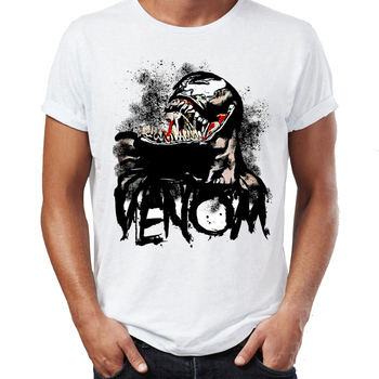 2019 Men's T Shirt Venom Spiderman Black and White Marvel Badass Tee