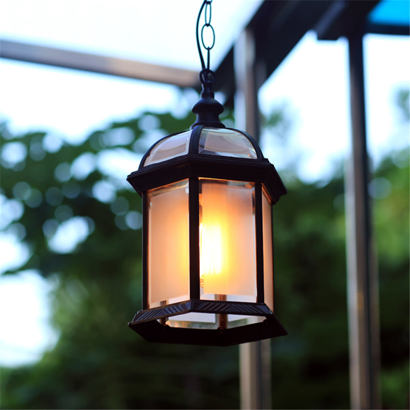 ФОТО 1X Modern Waterproof Outdoor Pendant Lamp 110V 220V 240V Aluminum Body,Dia20cm Height30cm Vintage Gazebo Droplight Hanging Lamps