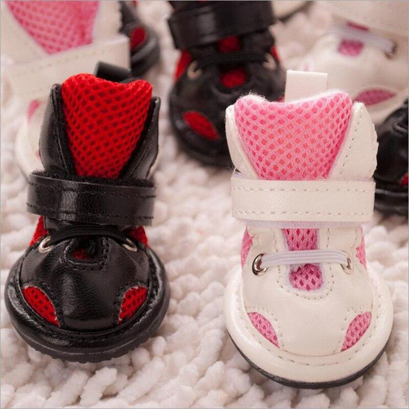 4pcs / set hond schoenen herfst winter warme honden laarzen pu - Producten voor huisdieren