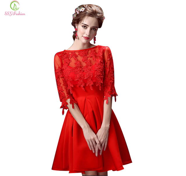 66a728c62e21 Ssyfashion grazia pizzo rosso corto abito da sera prospettiva modello mezza  manica ucollar ricamo zipper chiffon