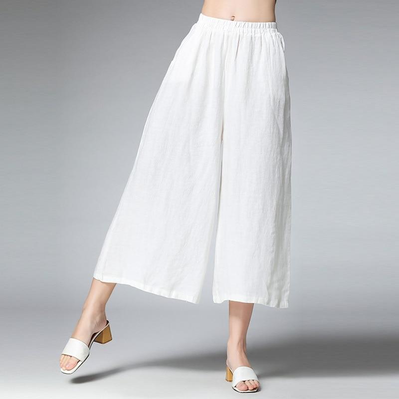 2019 spring summer women ramie   wide     leg     pants   elastic waist female casual trousers black white beige