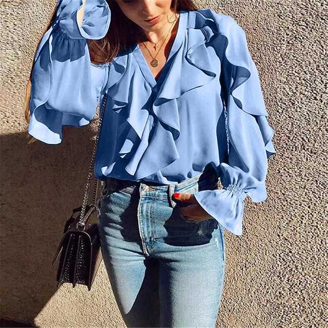 Celmia Stylish Tops Summer Ruffled Blouse Women Sexy V neck Long Sleeve Shirts Female Casual Buttons Street Blusas Plus Size 5XL 23