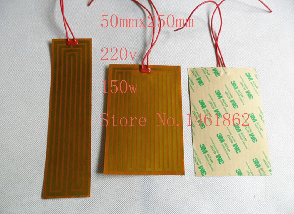 50mmx250mm 220v150w element heating PI film polyimide heater heat rubber electric flexible heated bad printer heating pad oil dia 25mm 12v 5w element heating pi film polyimide heater heat rubber electric flexible heated bad 3d printing beauty equipment