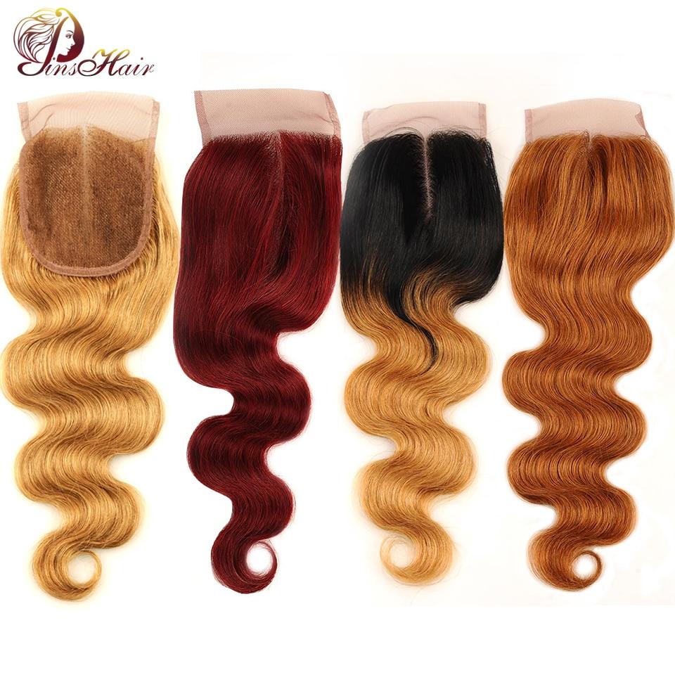 Pinshair Brazilian Body Wave Honey Blonde Closures 100 Human Hair Lace Middle Part Closure Red Dark Brown Burgundy Hair Non Remy