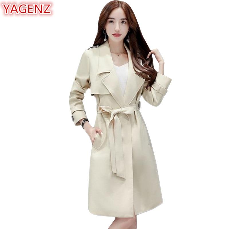 Yagenz Manteaux Mode beige Coupe Automne Femmes Femelle Printemps Tranchée Manteau De Long 2018 Tempérament Navy 604 White vent navy Blue kZPXiuOTw
