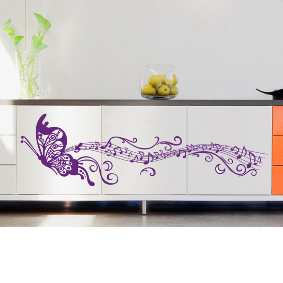 Musical Notes Purple Butterfly Home Decor Wallpaper Art Mural Wall Decals  Pegatinas Butterfly DIY Wall Stickers