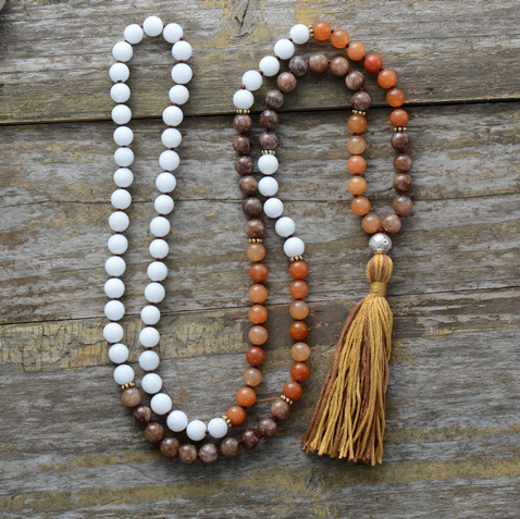 108 Beads Necklace 8MM Semi Precious Stones Metal Charm Long Tassel Mala Necklace Women Lariat Necklace Gift Yoga Necklace