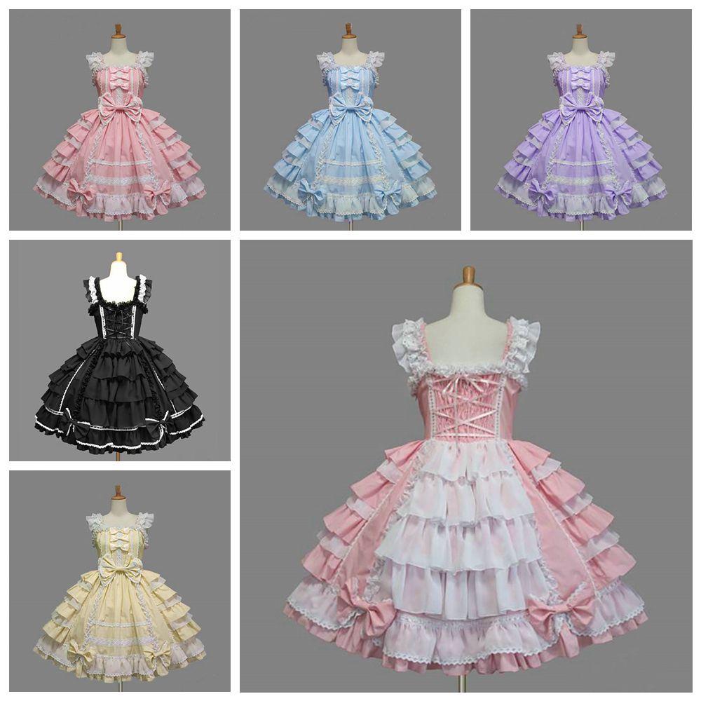 Классическое платье лолиты для девочек, Женский многослойный карнавальный костюм, хлопковое винтажное платье, платье для девочек, 6 цветов ...