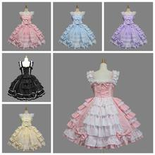 Classic Lolita Dress Girl Women s Layered Cosplay Costume Cotton Vintage  Dress Rtro Dress for Girl 6 472bb9bff9fd