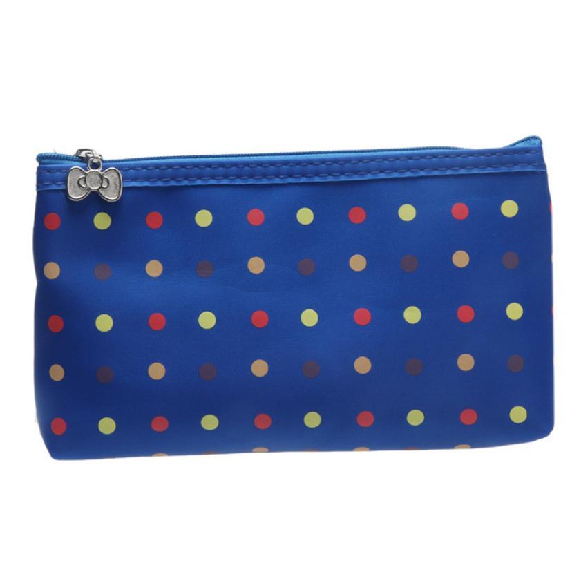 Hot Sale Fashionable Round Dot Portable Storage Cosmetic Bag Womens Makeup Bag organizer hanging wash bag Toiletry Kits
