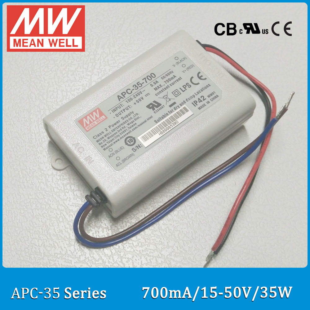 Original Meanwell LED driver APC-35-700 single output 35W 15~50V 700mA IP42 Meanwell LED power supply APC-35 original meanwell led driver apc 16 700 16 8w 9 24v 700ma led power supply constant current mean well apc 16 ip42