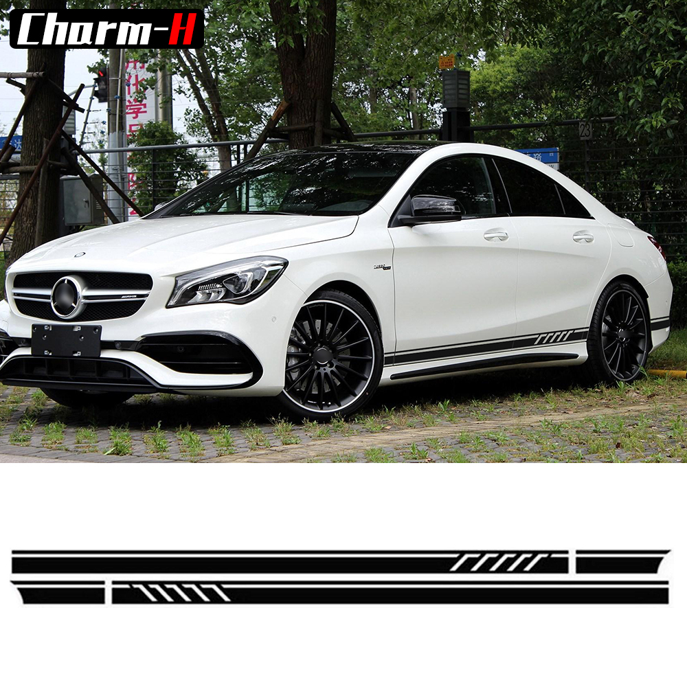 Edition 1 Style Side Stripe Decal Stickers for Mercedes Benz CLA 45 W117 C117 X117 AMG- 5D Carbon Fibre/Black/White/Silvergrey