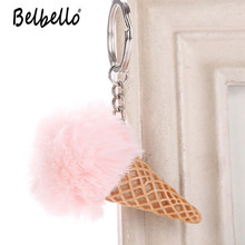 Fur Ball Acrylic Ice Cream Cone Plush Keychains Ring Keyring Pompon Backpack Car Bag Pendant Fashion Gifts(China)