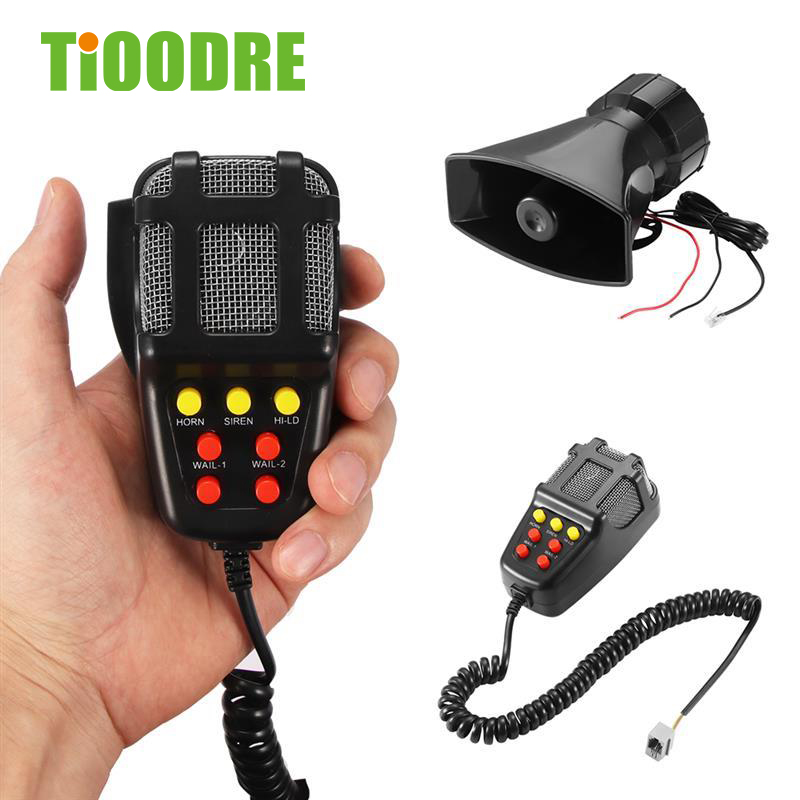TiOODRE 7 Tone Sound Car Recording Emergency Siren Horn Mic PA Speaker System Emergency Amplifier Hooter Fire Alarm 12V 100W