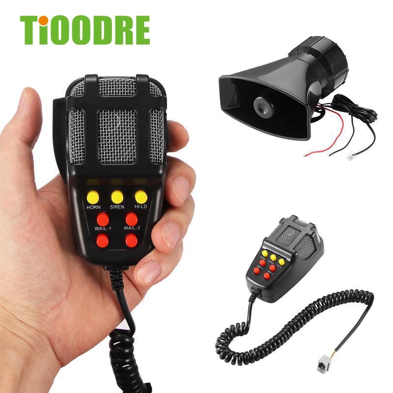 TiOODRE 7 Tone Sound Car Recording Emergency Siren Horn Mic PA Speaker System Emergency Amplifier Hooter Fire Alarm 12V 100W