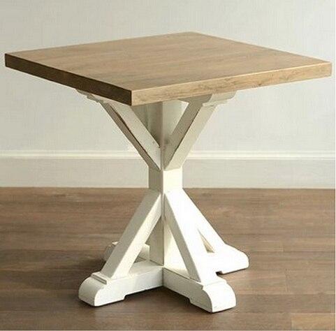 Mediterráneo color retro pintado raya de mesa de comedor de madera ...