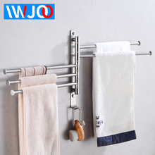 Towel Bar Holder Wall Mounted Moveable Towel Rail Hanger Stainless Steel Bathroom Towel Rack Hanging Holder Hook Storage Rack недорого