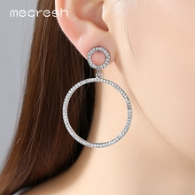 Mecresh Silver/Pink Color Crystal Round Drop Earrings for Women Bridal Wedding Long Earrings for Bridesmaid MEH775