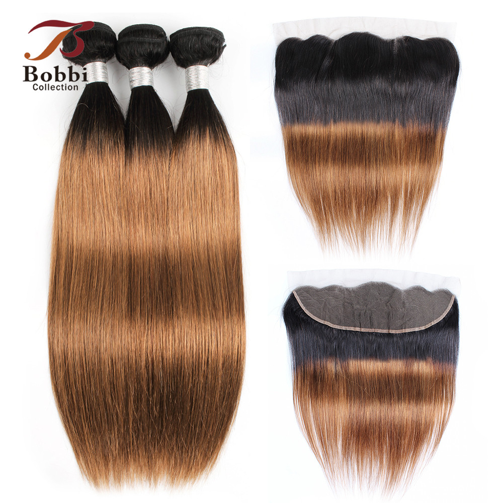 Bobbi Collection 2 3 4 Bundles with Frontal T 1B 30 Ombre Brown Auburn Indian Remy