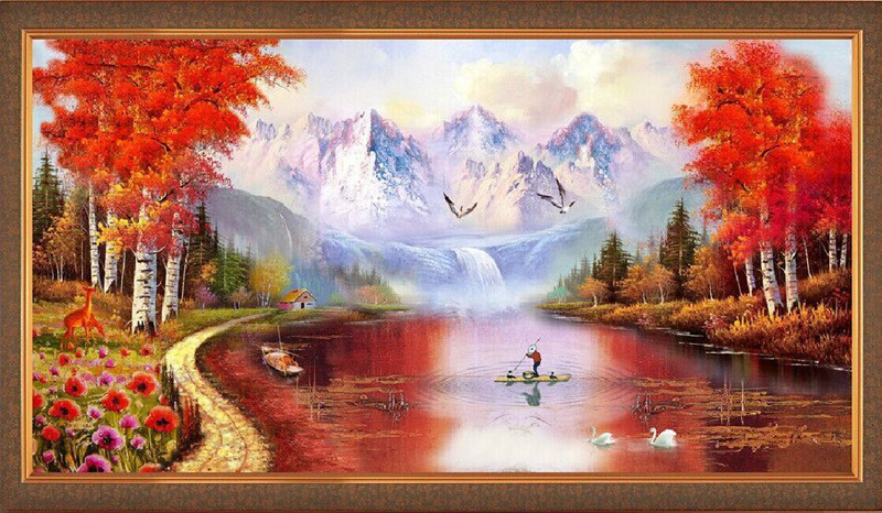 diy diamond painting scenery 5d Diamond embroidery landscape river and tree cube diamond mosaic crystal cross stitch kits