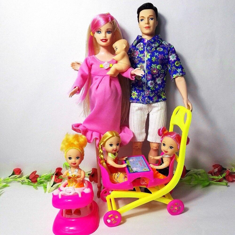Familie 6 Menschen Puppen Anzüge 1 Mom/1 Dad/drei baby/1 Kinderwagen für Mädchen barbie-puppe, Echt Schwangere Puppe Kind Geschenk spielzeug