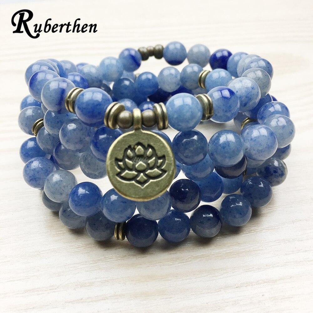 Ruberthen Neue Ankunft Design frauen Mala Perlen Armband Vintage Blau Aventurin Quarz Yogi Armband Halskette Lotus Armband