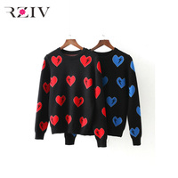 RZIV Fall 2017 Women solid color sweaters casual loose heart jacquard sweater
