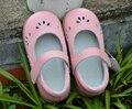 Девушки обувь корова кожа обувь малыша розовый белый мэри джейн цветок вырезы bebe дети половиной сандалии для элегантных kids2017