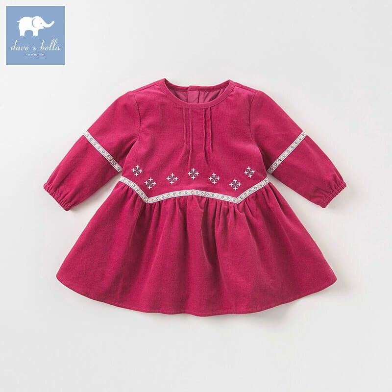 DBA7961 Dave Bella осень принцесса платья для малышек платье лолиты для девочек Детские Длинные рукава высокая качественная одежда