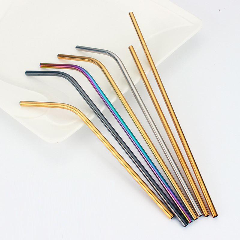 50pcs Metal Drinking Straws Reusable Bent Straight Stainless Steel Eco Straw Cocktail Drinking Straw Brush Party Bar Accessories
