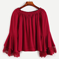 red lace patchwork Women Long Sleeve Blouses  women bag halloween vintage blusas femininas camisas women tops body feminino