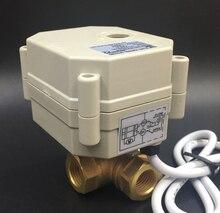 TF10-BH3-C, латунь 3/8 »(DN10) 2/3/5/7 провода DC12 или DC24V 3 Way Т/l Тип Горизонтальный Электрический клапан