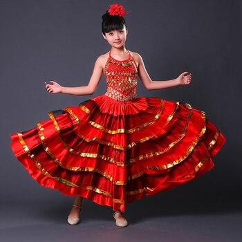 4b6e38922 Faldas flamencas para niños, faldas de baile de salón de baile para niñas,  vestido Flamenco de fantasía, disfraz DL2879