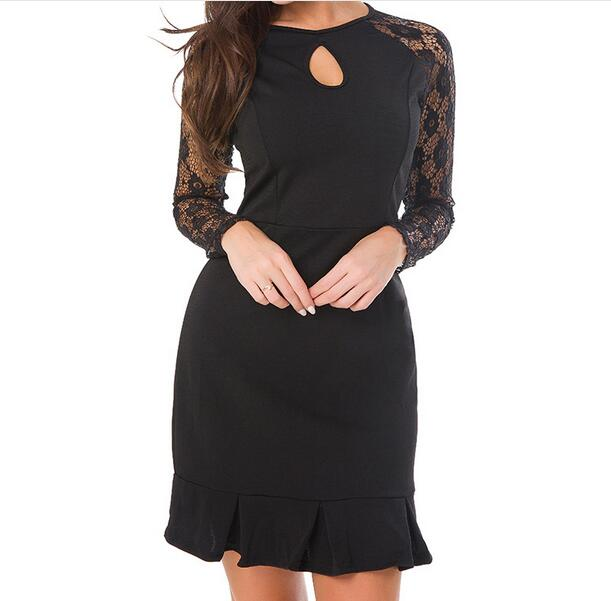 Body Pecnil Mini Dress For Woman Long Sleeve Round Neck Splice Lace Ruffle 2018 Spring Work Dresses WS5221W