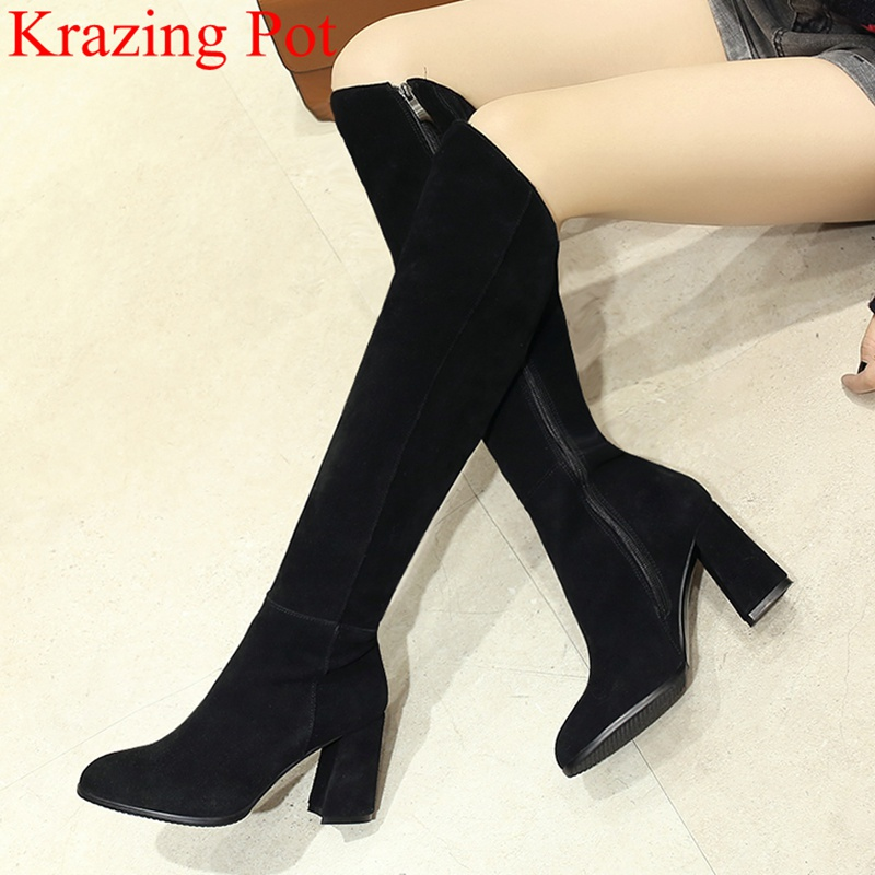 superstar big size round toe cow suede knee-high boots zipper square heel thigh high boots elegant keep warm winter shoes L69 superstar big size round toe cow suede knee-high boots zipper square heel thigh high boots elegant keep warm winter shoes L69