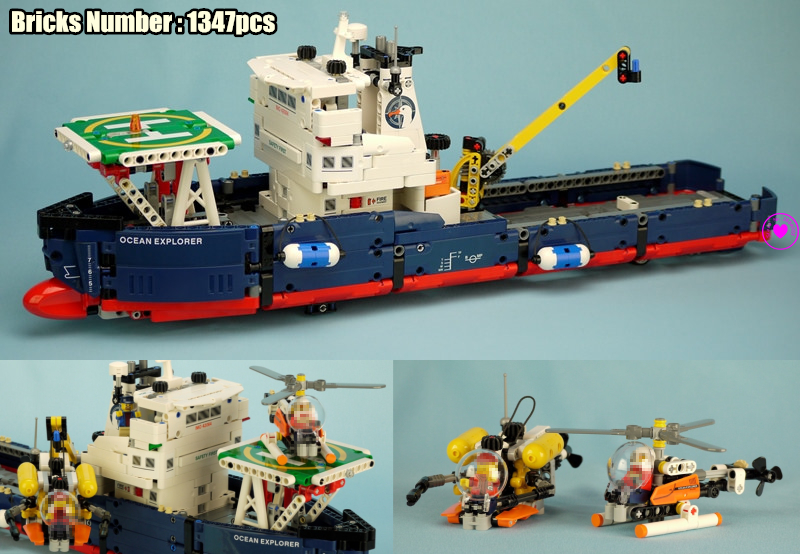 New Remote-control Technic Searching Ship fit legoings technic ship boat Helicopter city plane Building Block Bricks 42064 Toys city rescue the searching ship set compatible legoinglys technic building blocks bricks kids toys children 42064