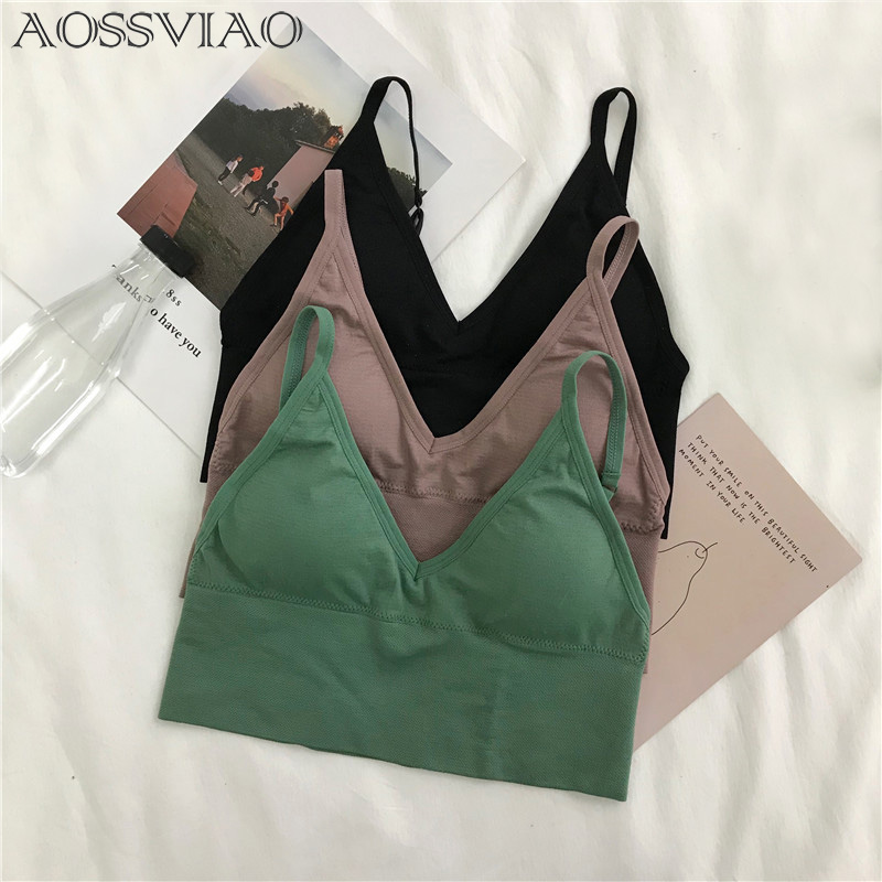 2019 Summer Style Colorful Crop   Top   Push Up Bra Women Cotton Stretch Fitness No Rims Padded Bra   Tank     Tops   Black Green Brown