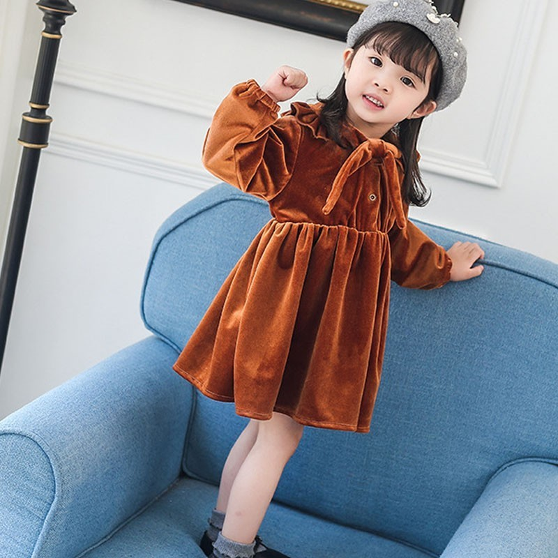 Velvet Little Girl Dresses For Winter Autumn A Line Princess Toddler Girls Long Sleeve Dress Red Cute Fashion Kids Clothing