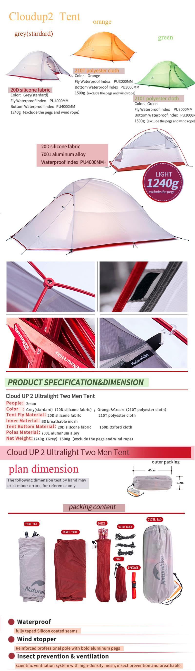 aeProduct.getSubject()  sc 1 st  AliExpress.com & Naturehike 1 Person Tent 20D Silicone or 210T Plaid FabricTent ...