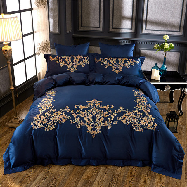 egyptian cotton blue king queen size bedding set gold luxury embroidered bed sheet set bed cover