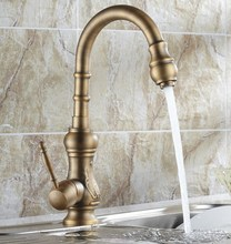 цена на Vintage Retro Antique Brass Single Handle Swivel Spout Kitchen Sink Faucet  Cold & Hot Mixer Tap asf080