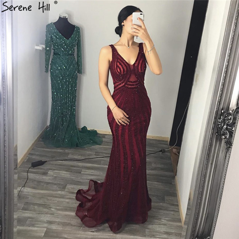 Wine Red Deep-V Sexy Back Evening Dresses 2019 Sleeveless Beading Sequined Lace Luxury Evening Gowns Serene Hill LA6693