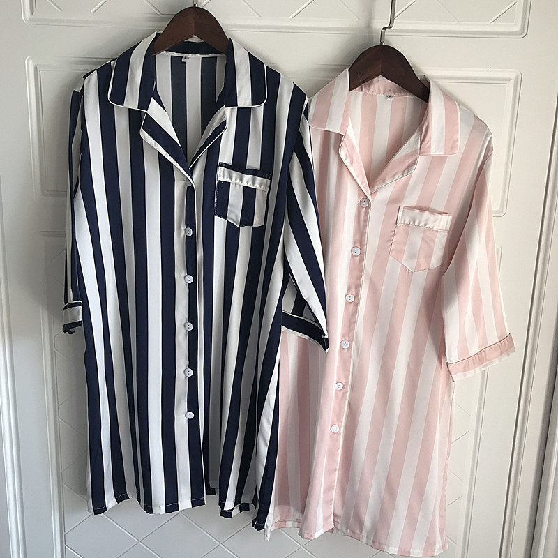 QWEEK Women Long BF Nightgowns Home Dress Sexy Nightwear Satin Sleepwear Striped Night Shirt Female Silk Dress Sleep Lounge