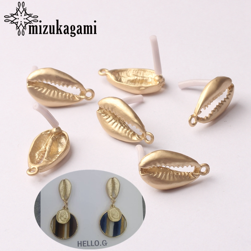 Zinc Alloy Golden Conch Earrings Base Connectors Linker 13*21mm 6pcs/lot For DIY Drop Earrings Jewelry Making Accessories