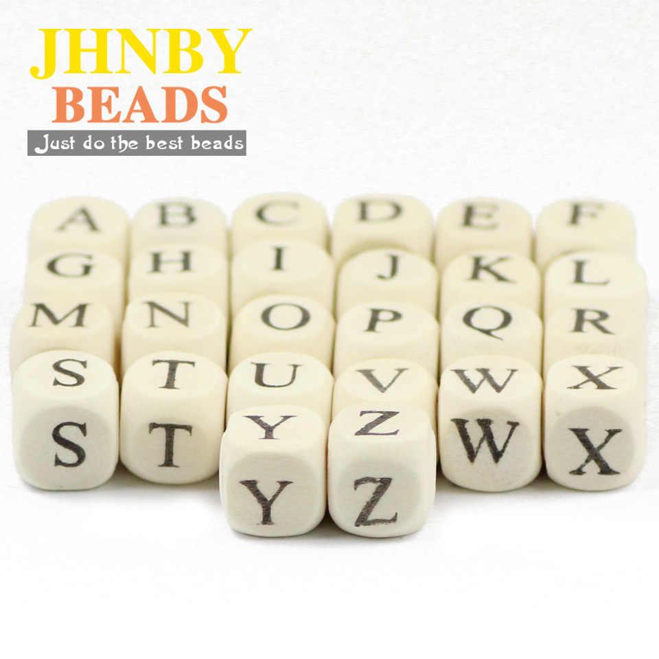JHNBY 52 adet 10mm kare ahşap boncuklar A ~ Z harfler alfabe gevşek boncuk takı DIY ahşap el yapımı kolye bilezik aksesuarları