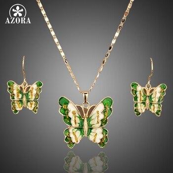 14f6a5fca216 AZORA Color oro Stellux cristal austriaco mariposa pendientes y COLLAR  COLGANTE conjunto TG0011
