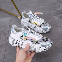 2019 spring and autumn fashion women's shoes high quality material printed sports shoes cross straps women shoes