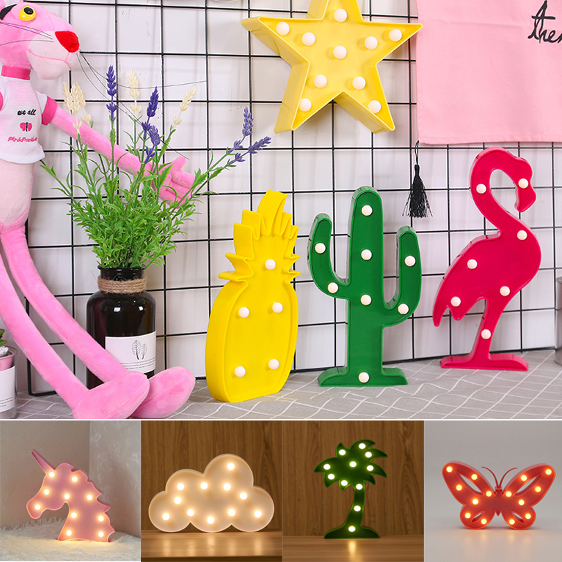 3D LED Night lights Cute Cartoon Flamingos Love Heart Star