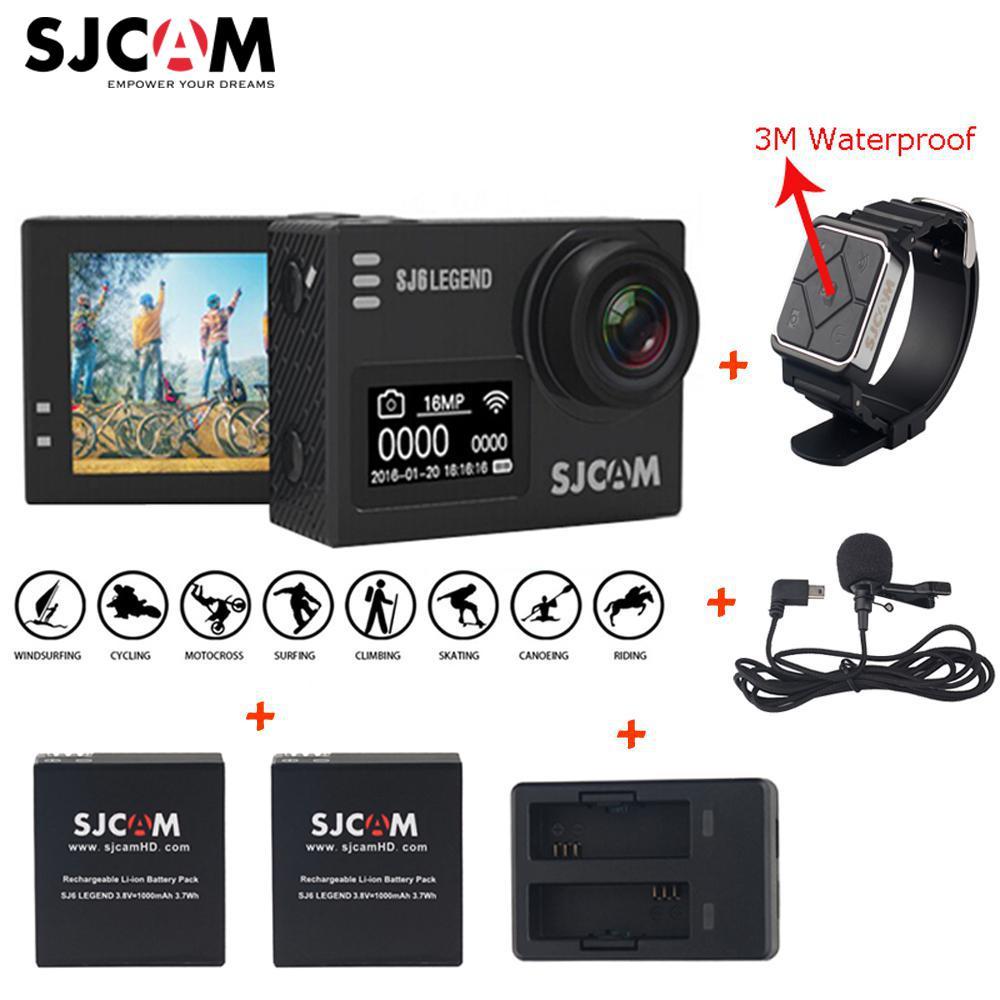 D'origine SJCAM SJ6 LEGEND 4 k 2.0 Écran Tactile Caméra D'action Sportive Sj DVR + 2 Batterie + Double chargeur + À Distance Montre + Micro