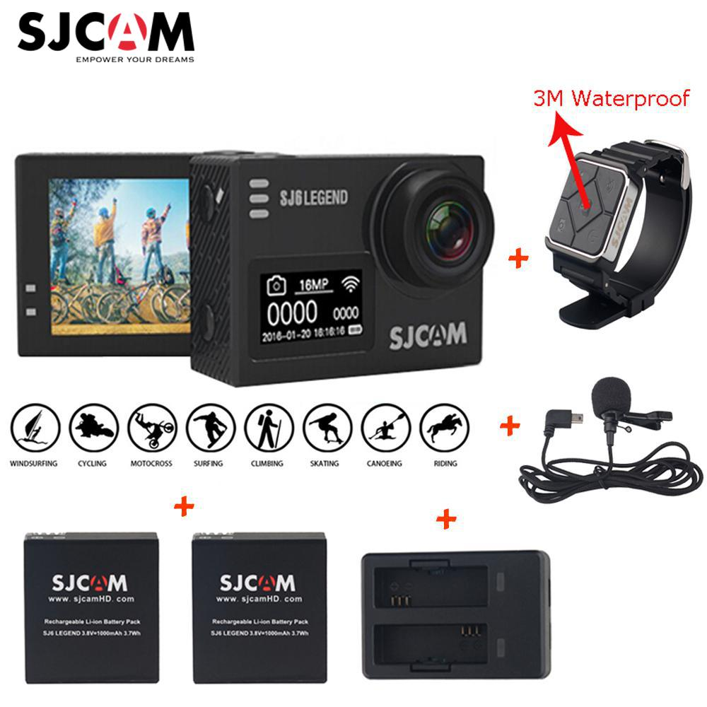 Original SJCAM SJ6 LEGEND 4K 2.0 Touch Screen Sports Action Camera Sj DVR+2 Battery+Dual Charger+ Remote Watch +Microphone original sjcam car charger microphone remote watch monopod motorcycle waterproof case dual charger for sj sj7 star action camera